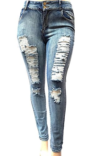 WOMENS PLUS SIZE Acid Wash Distressed Ripped BLUE SKINNY DENIM JEANS PANTS (14)