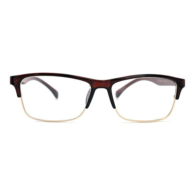 7423248df19 Natwve Co Sports Optical Frame Vintage Retro Rectangle Eyeglasses Half Rim Men  Glasses (Brown)  Amazon.ca  Clothing   Accessories