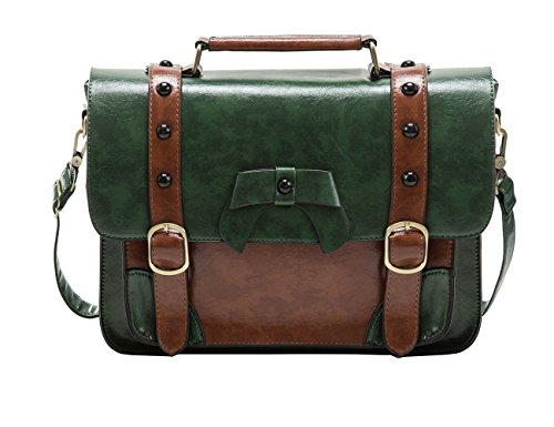 Ladies Briefcase Green (ECOSUSI Vintage Crossbody Messenger Bag Satchel Purse Handbag Briefcase for Women & Girl, Green)