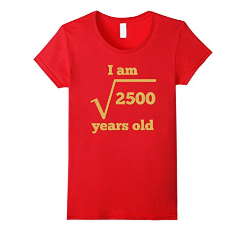 Womens 50 Years Old Square Root Funny 50th Birthday T-Shirt Large Red