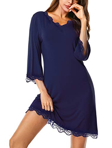 - UUANG Women's 3/4 Sleeve V-Neck Boyfriend Sleepshirt Pajama Dress (Navy Blue,XXL)