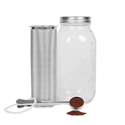 Cold Brew Coffee Maker for 2 Quart/64ounce Wide Mouth Mason Jar-Iced Coffee&Tea&Fruit Maker-Food-grade 304 Stainless Steel coffee Filter-Free silicone seal gasket&Coffee Scoop.(Jar NOT Included)