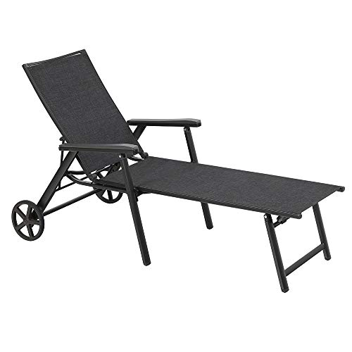 (MF STUDIO Wicker Chaise Folding Back Adjustable Patio Lounge Chairs Metal Textilene Lounger Recliner Chair W/Wheels - 1 Pack, Black)