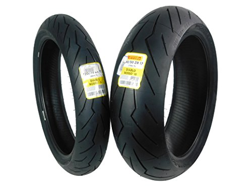 Pirelli Diablo Rosso III Front & Rear Street Sport Motorcycle Tires Rosso Three Rosso 3 (120/70ZR17 190/50ZR17) (190 Tire 50zr17 Motorcycle)