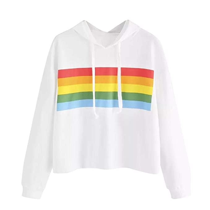 Sweatshirt Damen Kolylong® Frauen Elegant Gestreift Regenbogen Sweatshirt  mit Kapuze Herbst Winter Casual Langarmshirt Hoodie 347e9fa64f
