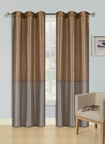 GorgeousHome (HEIDI) 1 Silky Drape Panel Top Chrome Metallic Grommet Window Curtain Treatment Drape 2 Shade Style 37