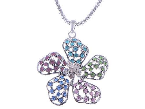 Pastel Color Petals Filigree Crystal Petunia Flower Floral Cute Pendant Necklace