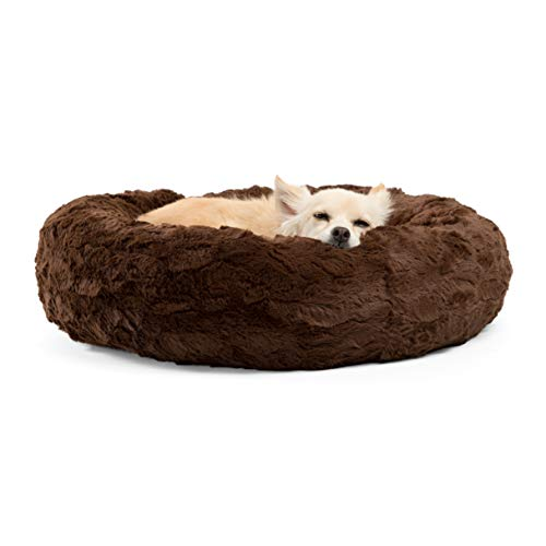 Dog Luxury Donut Bed (Best Friends by Sheri Luxury Faux Fur Donut Cuddler (23x23), Dark Chocolate - Small Round Donut Cat and Dog Cushion Bed, Orthopedic Relief)