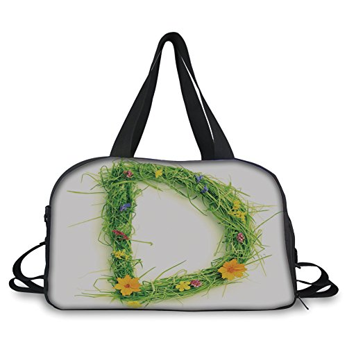 Price comparison product image iPrint Travel Handbag, Letter D, Alphabet Typography with Little Wildflowers and Grass Freshness Garden Growth Eco, Multicolor Personalized