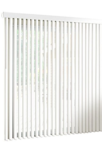 Spotblinds White-Cordless-Custom-Made, Premium PVC Vertical Blinds-Blocks Sunlight-Assembled in the US-Exact Width & Length from 86″ Wide to 55″ Long. You will receive a (87″W x 45″L) vertical blind