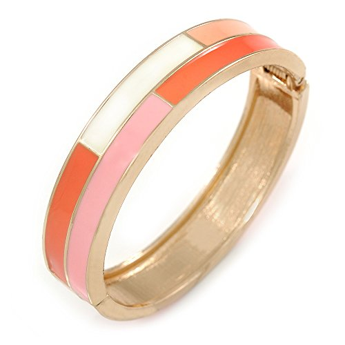 - Pink/White/Coral Enamel Oval Hinged Bangle Bracelet in Gold Tone Metal - 20cm L