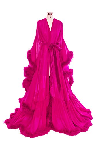BBCbridal Women Sexy Feather Long Wedding Scarf Illusion Nightgown Robe Perspective Sheer Bathrobe Sleepwear A Fuchsia ()