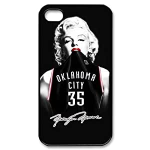 Custom sexy Marilyn Monroe with nba Oklahoma City Thunder Kevin Durant jerseys black plastic Case for iphone 4 4s at luckeverything store