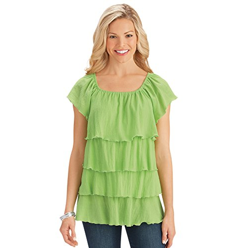 Collections Women's Tiered Scoop Neck Casual Woven Gauze Lightweight Summer Top, Lime, X-Large - Made In The USA (Winston Light 15)