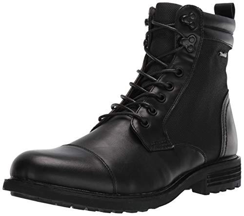 Steve Madden Men's Hudson Combat Boot, Black Leather, 10.5 M US (Male Combat Boots)