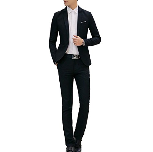 S&S Men Two-Piece Classic One Button Notch-lapel Suit Jacket & Pleated Pants Set