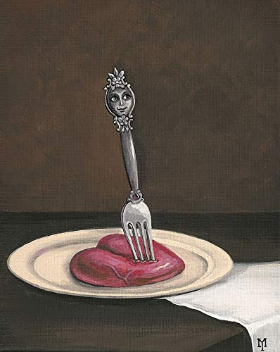 8x10 PRINT OF ORIGINAL PAINTING HALLOWEEN GOTHIC SURREAL VALENTINES DAY FORK STILL LIFE HEART HOME INTERIOR DESIGN DECOR DECORATION FINE WALL -