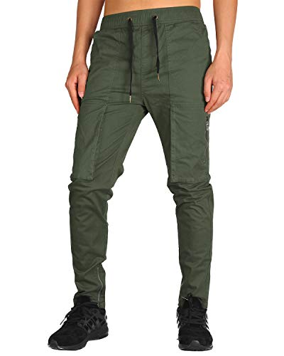 THE AWOKEN Mens Chino Cargo Pants Casual Trousers Cotton Twill Slim Fit Black (Army Green, S)