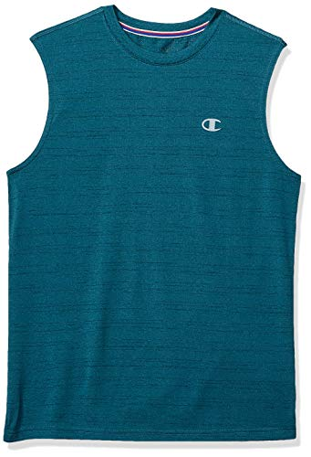 Champion Men's Double Dry Mesh Texture Muscle Tee, Jeweled Jade Heather, XX-Large ()