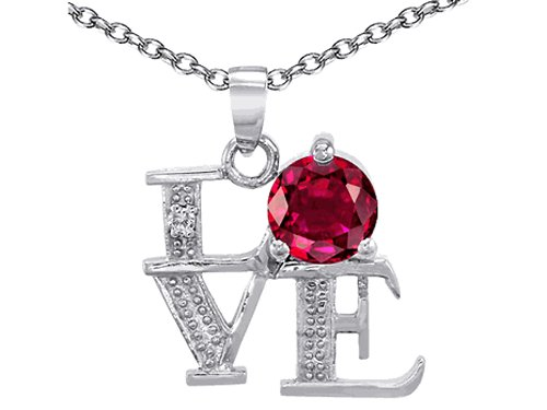 Star K LOVE Pendant Necklace Round 7mm Created Ruby Sterling Silver