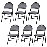 Cheap Fold Up Chairs Giantex 6-Pack Folding Chair with Handle Hole, Upholstered Padded Seat and Back with Metal Frame for Home Office Party Use, Grey
