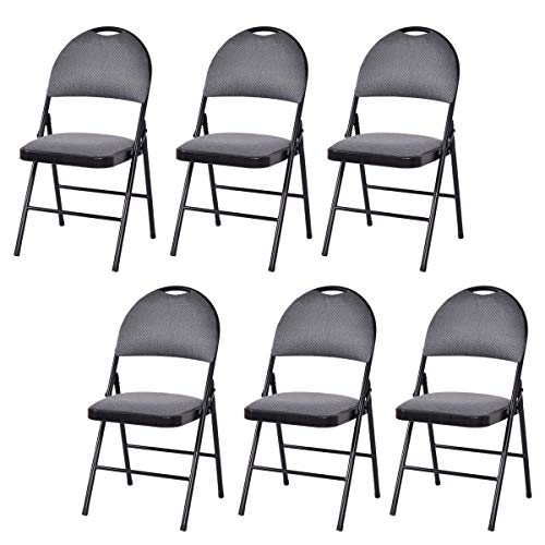 (Giantex 6-Pack Folding Chair with Handle Hole, Upholstered Padded Seat and Back with Metal Frame for Home Office Party Use, Grey)