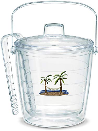 - Tervis 1036484 Palm Tree & Hammock Scene Insulated Tongs with Emblem Lid-Boxed, 87oz Ice Bucket, Clear