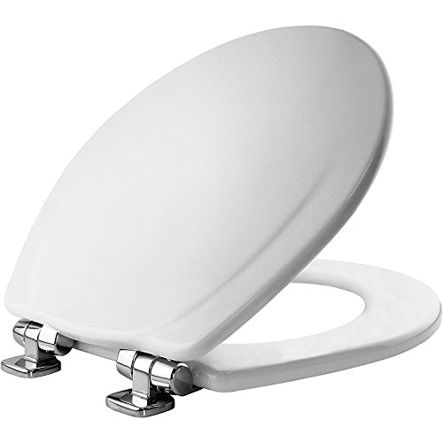 Mayfair Molded Wood Toilet Seat featuring Slow-Close, STA-TITE Seat Fastening System and Chrome Metal Hinges, Round, White, 30CHSLB 000 - No Rust White Metal Paint