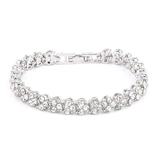 WoCoo 16.5CM Roman Style Woman Crystal Diamond Bracelets Gifts (Rose Gold)