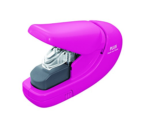 Plus PAPER CLINCH Compact PINK Heavy Duty, Light, Staple Free Stapler (31253)