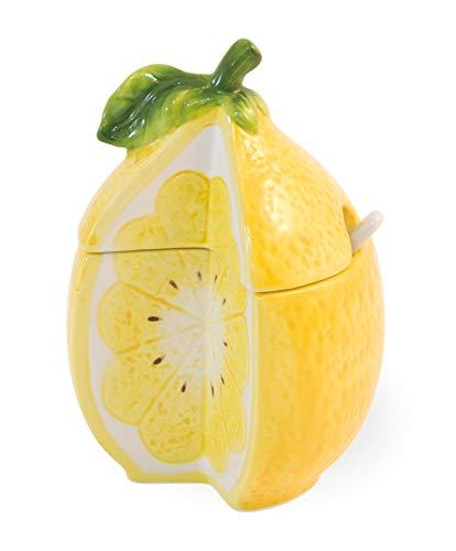 (Lemon Drop Sunshine Yellow 5 x 3 Dolomite Ceramic Sugar Bowl With)