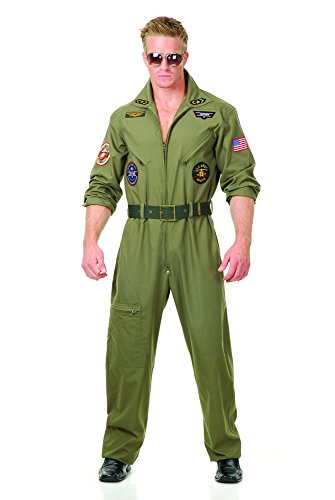Charades Men's Wingman Flight Jumpsuit And Belt, Olive Green, Medium