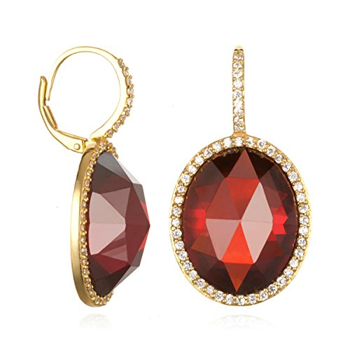 (Gold Plated Silver Oval Red Cz Drop Earring with White Cz)