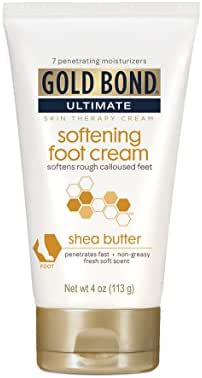 Gold Bond Ultimate Softening Foot Cream with Shea Butter, 4 Ounce, Leaves Rough, Dry, Calloused Feet, Heels, and Soles Feeling Smoother and Softer, Includes Vitamins A, C, E, and Silk Amino Acids