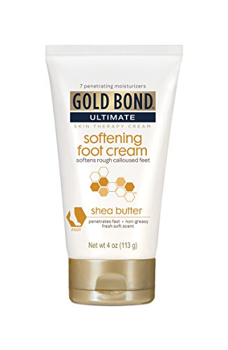 (Gold Bond Ultimate Softening Foot Cream with Shea Butter, 4 Ounce, Leaves Rough, Dry, Calloused Feet, Heels, and Soles Feeling Smoother and Softer, Includes Vitamins A, C, E, and Silk Amino Acids)