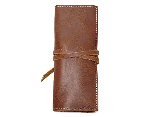 Ying Bolsa de herramientas First Layer Leather Vertical Retro Rope Kit de cuero de bolsillo multifunción Bags Brass