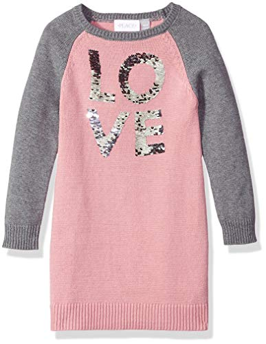 Girls' Big Long Sleeve Sweater Dress, Strong iris, XS (4) ()