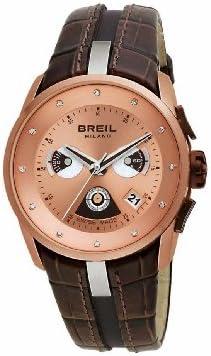 BREIL WATCH MILANO CHR LADY IP PINK CASE BROWN STRAP BW0434