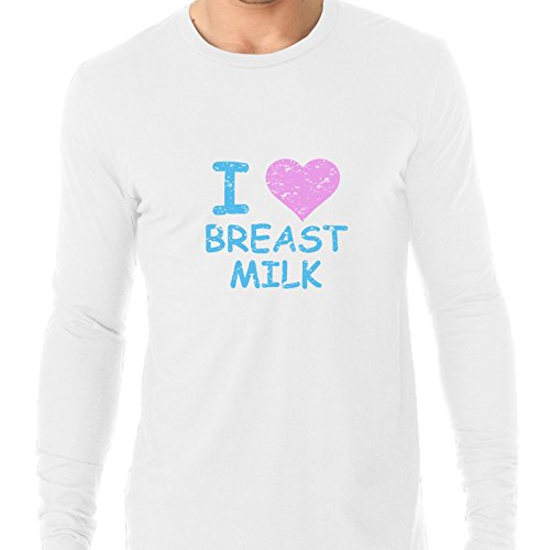 I Love Breast Milk - Baby Blue and Pink Heart Men's Long ...