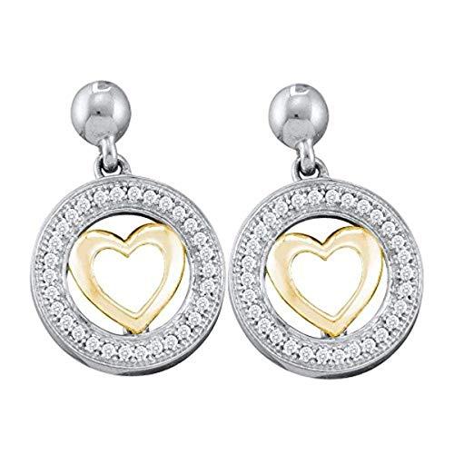 Roy Rose Jewelry 10K Two-tone Gold Womens Round Diamond Circle Heart Dangle Earrings 1/5-Carat -