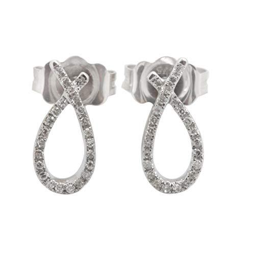 Goldenstar 0.075Ct. White Diamond Push Back Earring, White Gold Plated Silver