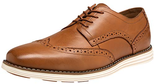 JOUSEN Men's Dress Shoes Leather Wingtip Brogue Oxford (9.5,Brogue-Yellow Brown)