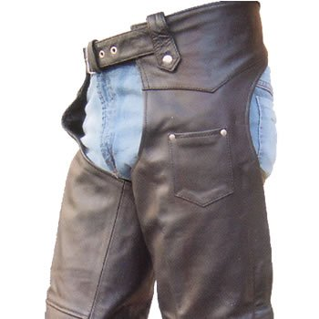 Men's TALL Version Heavy Duty Premium Buffalo Leather Motorcycle Chaps w inner-lining n YKK hardware by Allstate