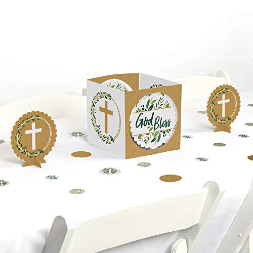 Big Dot of Happiness Elegant Cross - Religious Party Centerpiece and Table Decoration Kit