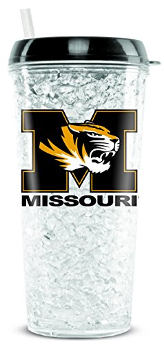 (NCAA Missouri Tigers 16oz Crystal Freezer Tumbler with Lid and Straw)