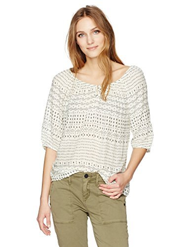 リラックスしたとして学部VELVET BY GRAHAM & SPENCER Women's Sheer Printed Gauze Peasant Blouse Grecian L [並行輸入品]