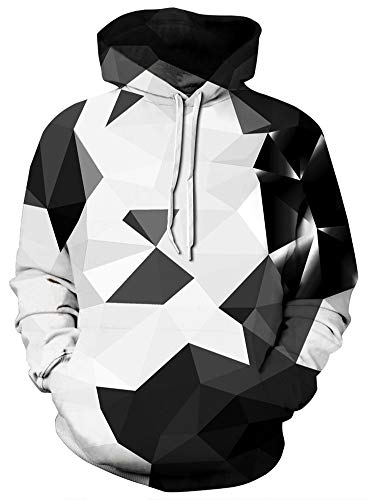 Xiaohudui Unisex Realistic Black White Color Block Printed Hip Hop Street Style Hip Hop Sweatshirt Pullover Hoodie for Men Women