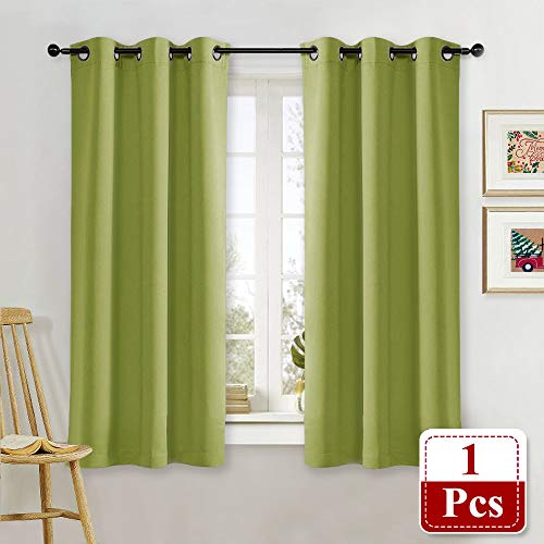 NICETOWN Blackout Curtain Window Drape Panel Noise Reducing Christmas Window Decoration Blackout Room Darkening Curtain for Kids Room (1 Piece, 42 inches Width x 63 inches Length in Fresh Green)