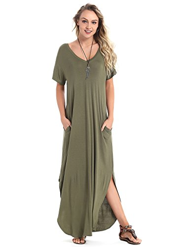Green Soft Dress - Women's Short Sleeve V Neck Pocket Casual Side Split Beach Long Maxi Dress (Army Green, Small)