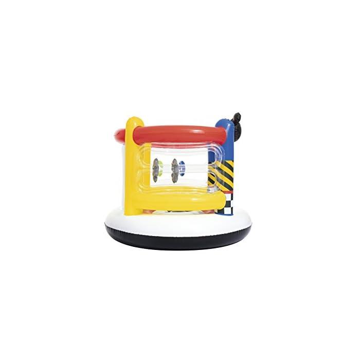 41uHoz9wDNL Está fabricada con vinilo resistente probado con paredes hinchables para mayor seguridad de los niños Incluye aros hinchables para que los más pequeños jueguen a encestar Tiene válvulas de seguridad para un inflado y desinflado fácil